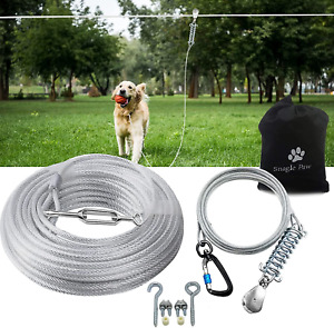 Dog Tie Out Runner for Yard Heavy Duty Trolley System for Large Dogs 75ft
