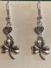 New Item*Handcrafted Silver Celtic Shamrock Earrings*.925 Sterling Ear Wires.hrt