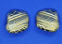 Clip On Earrings  Snake Skin Pattern Asymmetrical Square Gold Tone Statement Vtg