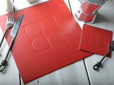 Set of 4 RED Embossed SQUARE Leatherboard PLACEMATS Table Mats & 4 COASTERS 8pc