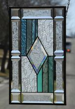 Multi-colored,Diamond, Beveled Stained Glass Window Panel, Hanging,