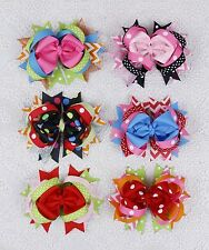 "New 6pc 4"" Girl toddler baby infant children Boutique polka Hair Bows Clip 2101"