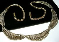 Vintage Jewellery Beautiful Faux Marcasite Staybrite Signed Globus NECKLACE