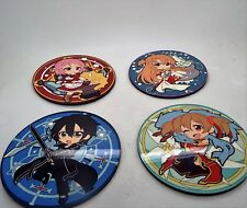 Set of 4 round coasters Kirito Asuna Sword art online anime cartoon