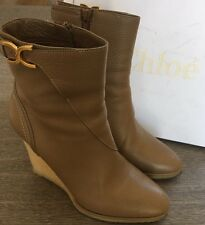 Chloe Brown/Beige Nut Leather Zip Up Wedge Ankle Boots Size 41 1/2