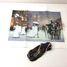 Sunset No Count Counted Cross Stitch Victorian City Winter Scene Fabric Floss