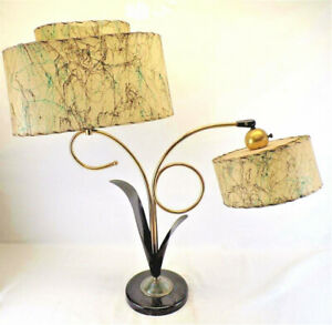 Vintage Mid Century Modern Art Deco Majestic Lamp Dual Fiberglass Colored Shades