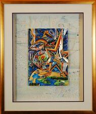 """Adam and Eve"" by Raphael Abecassi (Fine Art Framed Collage Abstract Decor)"