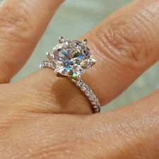 3.80ct Round Diamond Certified 14k Gold Solitare Halo Engagement & Wedding Ring