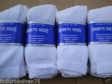 12 pair white BEST QUALITY Diabetic crew socks  9-11 size ( MADE IN USA )