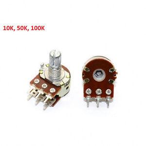 Mixer Potentiometer 10K 20K 50K 100K ohm 6-Pin Linear Stereo B Pot- Free P&P New