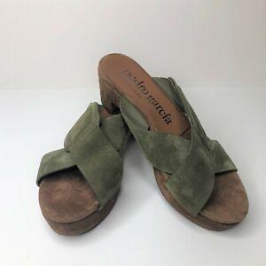 Pedro Garcia Green Nanette Crisscross Buckle Slide Sandals, Size 36 / US 6