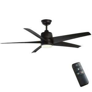 "Hampton Bay Mara 54"" Color Changing LED Indoor/Outdoor Matte Black Ceiling Fan"