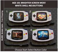 Nintendo Game Boy Advance White System AGS 101 Backlit Mod -Best Picture