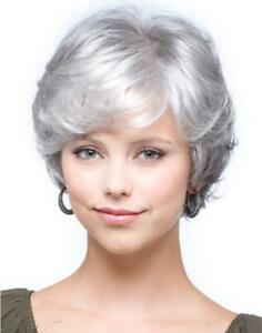 Silver and Black Short Natural Wave Capless Synthetic Wigs for Older Women