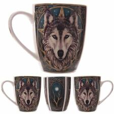 Lisa Parker Wolf Head Pentagram Moon Tree Gothic Celtic Boxed Bone China Cup Mug