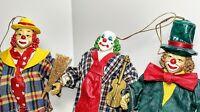 "3 Vintage Christmas Tree Ornaments Clothtique Possible Dreams Clown 1990 6.5"""