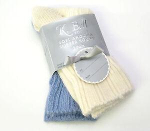 2 PR K. Bell Ladies Slipper Socks ( or Boot ) Angora Blend Blue / Cream - NEW