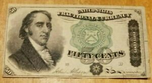 1873 50 Cents Fractional Currency Note 4th Issue Green Seal Fr great condition