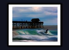 Cocoa Beach Pier SIGNED SURFING ART PRINT Benefits Surfers for Autism Florida