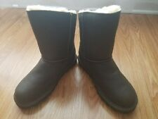 Bearpaw Mimi Round Toe Leather Winter Boots - Chestnut - Size 6