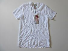 NWT Johnny Was Tulia in White Floral Embroidered Sheer  Short Sleeve Top S $212