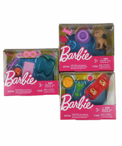 2017 Barbie Fashion Accessory Pack lot of 3 Taco Party, Puppy, Spa Day