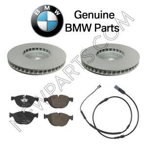 For BMW 528i 550i 650i 740Li Set of Front Brake Disc Rotors Pads &Sensor Genuine