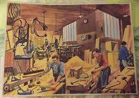 Objet de Métier Affiche Set de table Menuisier Atelier de Fabrication de Coffre