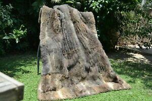 "Real New Zealand Possum Opossum Fur Throw Blanket 56""X43"" rug B3635 coat fox"