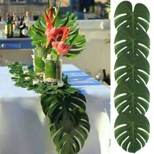 12X Green Jungle Artificial Tropical Palm Leaves Hawaiian Luau Party Table Decor