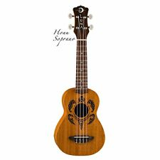 Luna Mahogany Honu Soprano Tribal Turtle Ukulele Uke with Gig Bag Aquila Strings