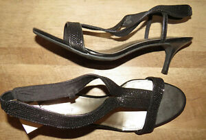 Fioni Night black sequined slingback heels, Women's 13W