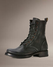 Women's Frye Boots Veronica Combat Black Brushed Off Leather 76271 BLK
