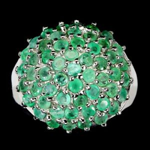 Unheated Round Green Emerald 14K White Gold Plate 925 Sterling Silver Ring 8.5