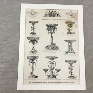 1880 Silver Epergne Fruit Bowl Factory Advertisement Large Old Antique Print