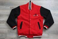 Men's 3M Racing Black/Red Bomber Varsity Jacket Auburn Sportswear Size Medium