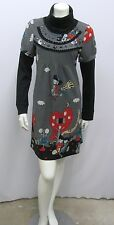 FUNKY PEOPLE DRESS PRINT OF KIDS FLYING ON A BROOMSTICK WITH DOG SIZE MULTI M