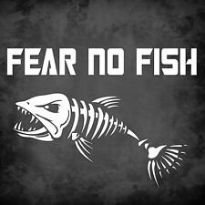 "Fear No Fish - LARGE - 8"" x 5.75"" - Fishing, Outdoors, Decal, Vinyl, Skeleton"