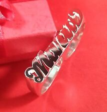 Name Ring Two Finger Personalized Sterling Silver Any Name *Made in USA*
