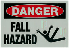"3 OSHA Construction Danger Signs - Fall Fall Hazard Decal or Label 10"" x 7"" NEW"