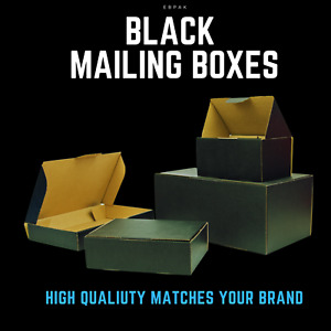 Black Colour Mailing Box Cardboard Shipping Mailer Small Medium Large A6 A5 A4