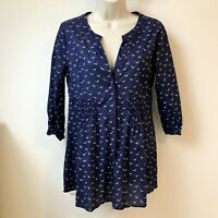 Laura Ashley Weekend Size 8 Beautiful Bird Print Blue Tunic Button Blouse Top
