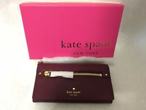 KATE SPADE Cobble Hill Rae Merlot Leather Wristlet Wallet Bag Clutch *NEW w/ Tag