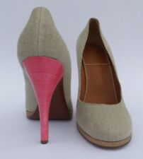 LANVIN Eté 2010 Beige Canvas Tan Leather Platform Pink Heel Stacked Pumps 40.5