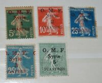 FRENCH COLONIES, (SYRIA)  O.M.F.  1920 YVERT Nº 34, 36, 37, 38, 39 MH & Used