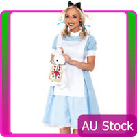 Deluxe Ladies Alice in Wonderland Costume Halloween Book Week Girl Fancy Dress