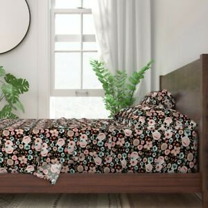 Autumn Floral Black Blush Nursery 100% Cotton Sateen Sheet Set by Roostery