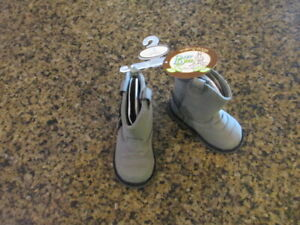 Baby Deer Gray Infant Western Fringe Boots Shoes boys girls 3 6-9 Months NIB new
