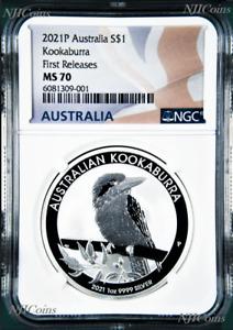 2021 P Australia Silver Kookaburra NGC MS 70 $1 1 oz Coin Flag FR Label PERFECT